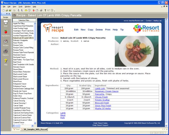 resort software resort recipe product description